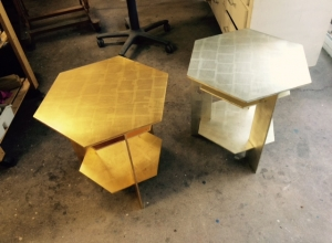 Gilding of Two Frank Lloyd Wright Style Tables